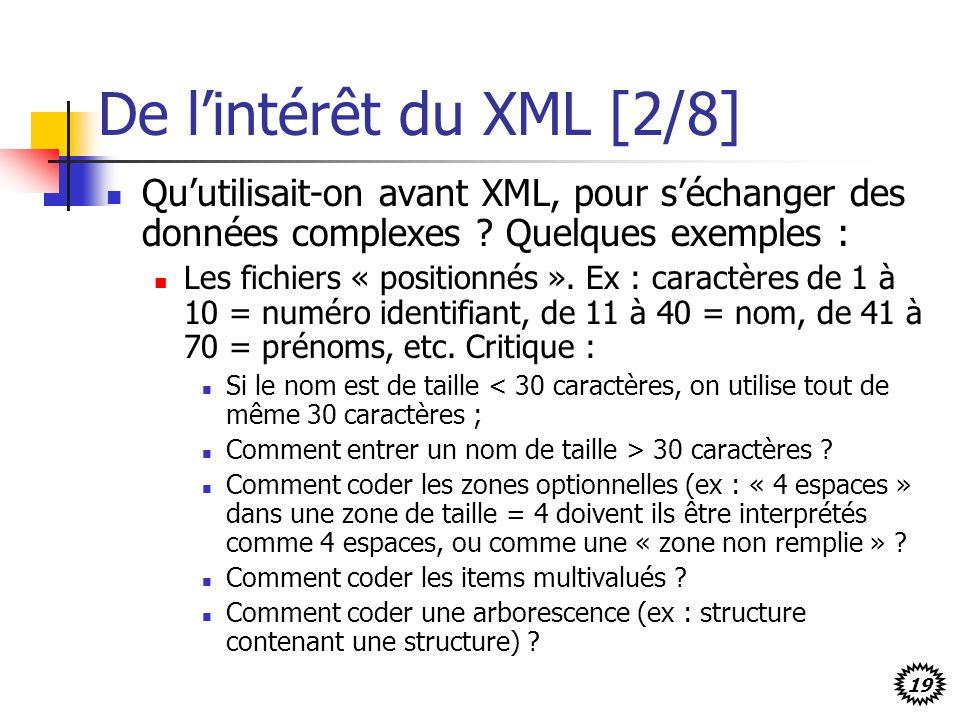 De l'intérêt du XML [2/8] Qu'utilisait-on avant XML, pour s'échanger des données complexes Quelques exemples :